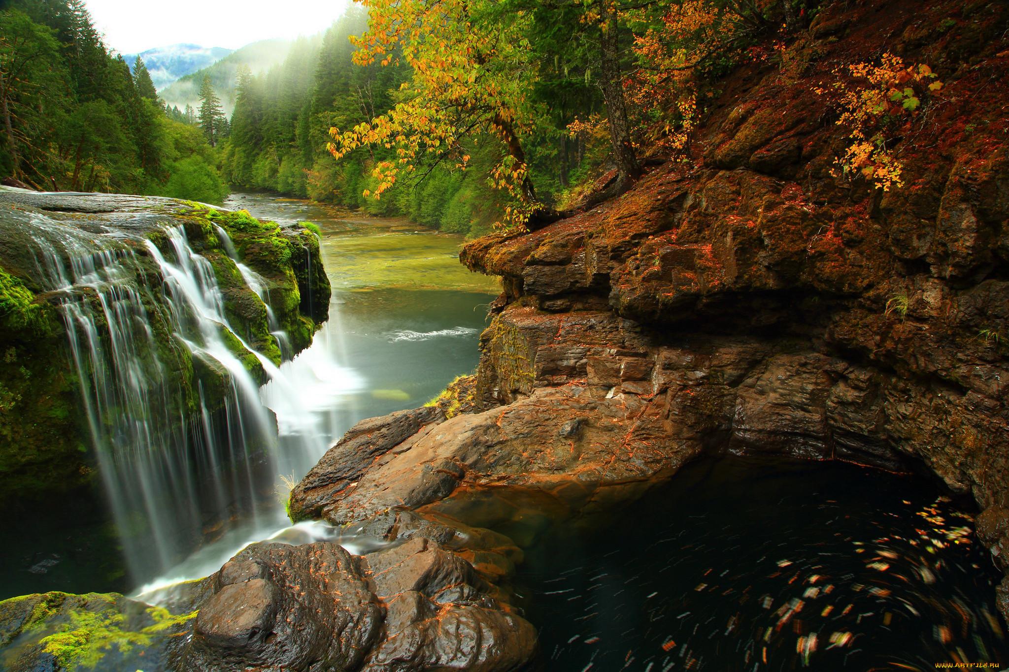 Природа водопады лес водопад камни